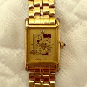 Gold Vintage Minnie Mouse Diamond Dial Women Watch